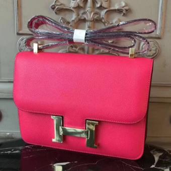 Cheap Hermes Red Constance MM 24cm Epsom Leather Bag