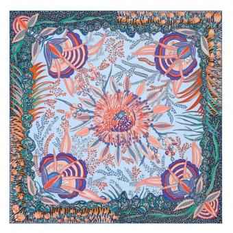 Hermes Blue Flowers Of South Africa Silk Scarf