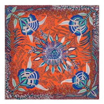 Knockoff Hermes Orange Flowers Of South Africa Silk Scarf