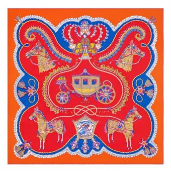 Hermes Red Paperoles Silk Twill Scarf Replica