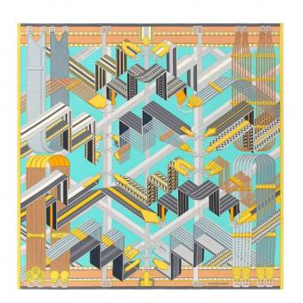 High End Knockoff Hermes Turquoise Sangles En Zigzag Silk Scarf
