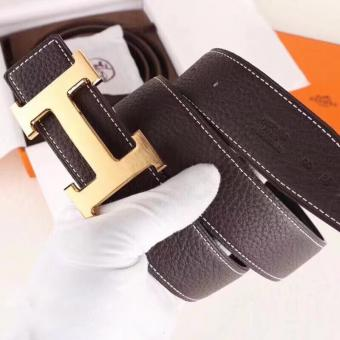 Knockoff Hermes H Belt Buckle & Chocolate Clemence 32 MM Strap