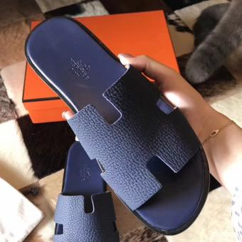 Hermes Izmir Sandals In Navy Blue Clemence Leather Replica