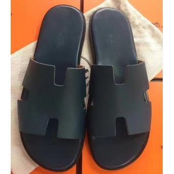 High Quality Faux Hermes Navy Blue Epsom Izmir Sandals
