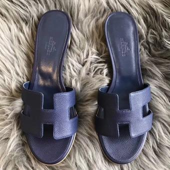 Hermes Oasis Sandals In Sapphire Epsom Leather