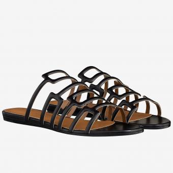 AAA Hermes Olympe Sandals In Black Nappa Leather