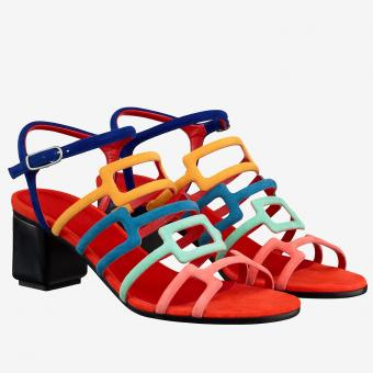 Imitation Hermes Oracle Sandals In Multicolour Suede Leather