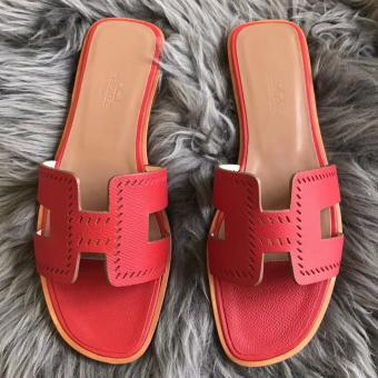 Hermes Oran Perforated Sandals In Red Epsom Leather