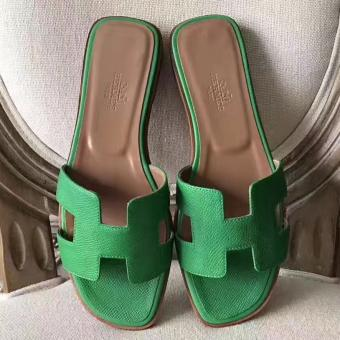 High End Replica Hermes Oran Sandals In Bamboo Epsom Leather