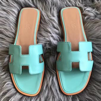 Wholesale Hermes Oran Sandals In Blue Atoll Swift Leather