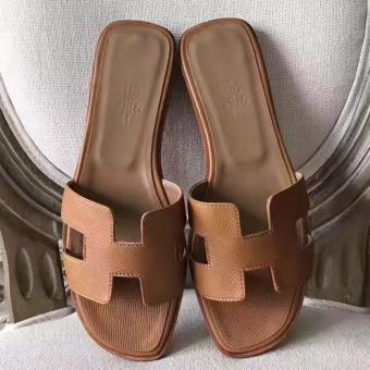 Imitation Hermes Oran Sandals In Brown Epsom Leather