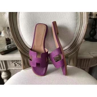 Hermes Oran Sandals In Cyclamen Epsom Leather