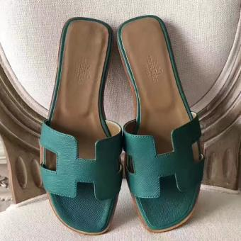 Replica AAA Hermes Oran Sandals In Malachite Epsom Leather