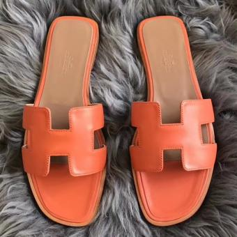 Hermes Oran Sandals In Orange Swift Leather Replica