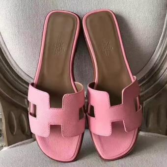 Hermes Oran Sandals In Pink Epsom Leather Replica