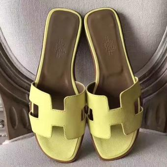 High Quality Hermes Oran Sandals In Soufre Epsom Leather