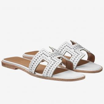Luxury Replica Hermes Oran Studs Sandals In White Leather