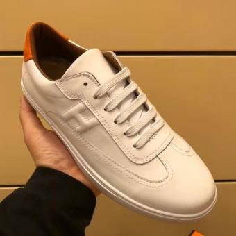 Top Replica Hermes Quicker Sneaker In White Leather