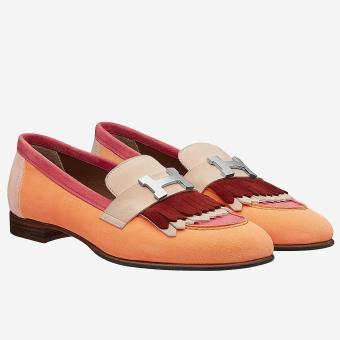 Hermes Royal Loafers In Multicolour Suede Replica