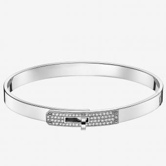 AAA Hermes Silver Small Kelly Bracelet With Diamonds