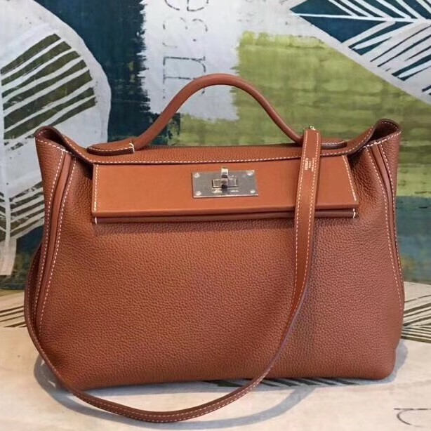 High Quality Hermes 24/24 29 Bag In Brown Clemence Calfskin