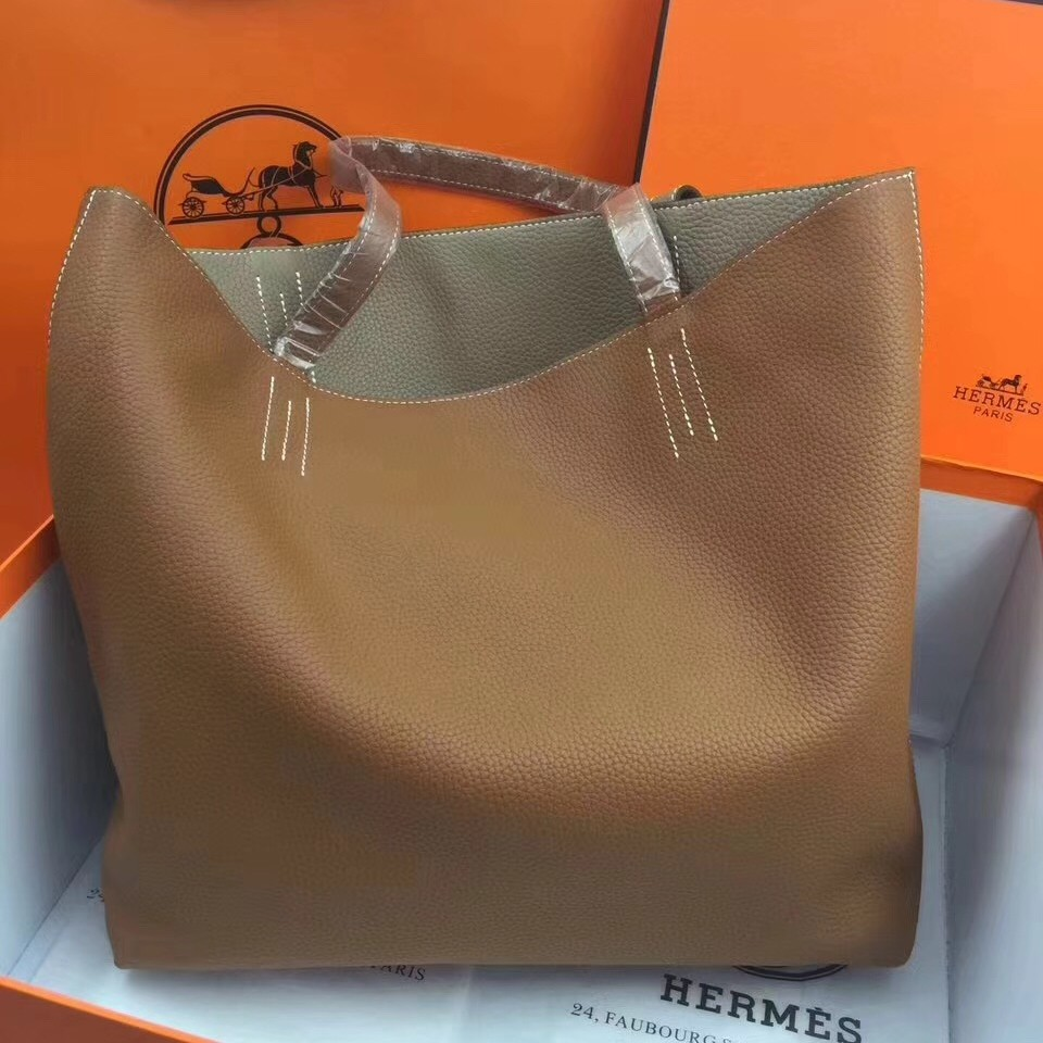Luxury Faux Hermes Double Sens 45cm Tote In Brown/Etoupe Leather