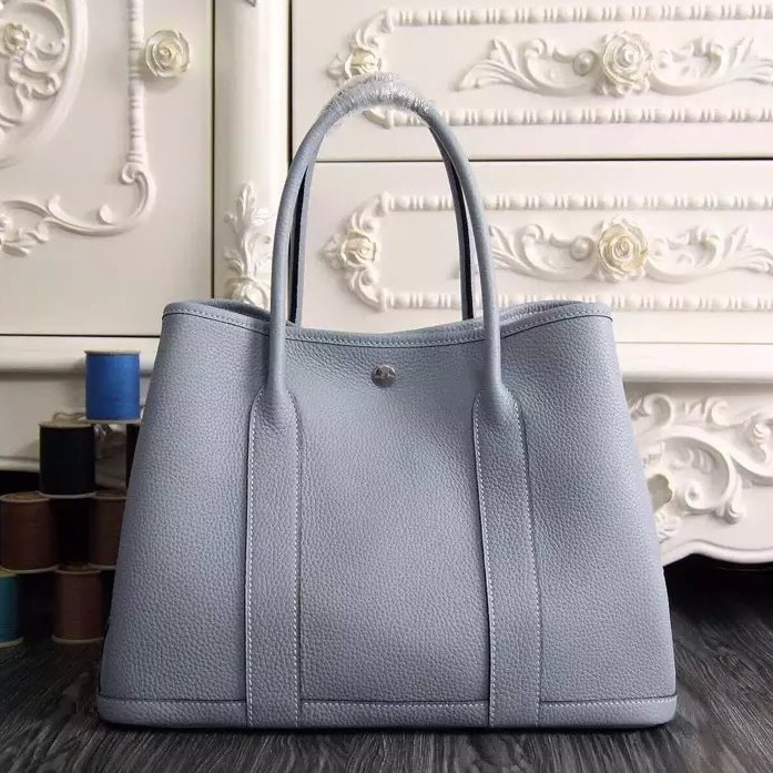 Hermes Small Garden Party 30cm Tote In Lin Blue Leather Replica