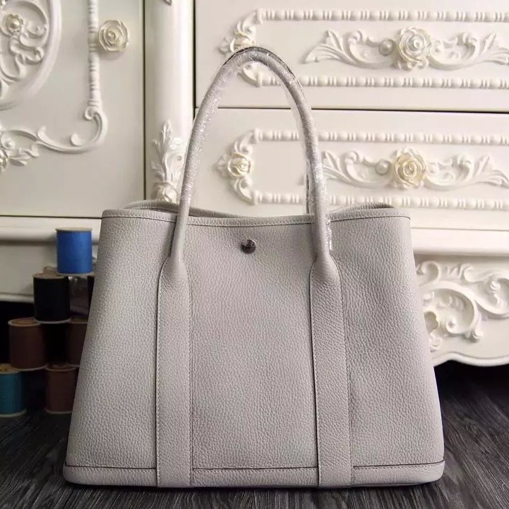Hermes Small Garden Party 30cm Tote In White Leather