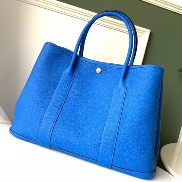 Luxury Hermes Blue Hydra Fjord Garden Party 30cm With Printed Lining