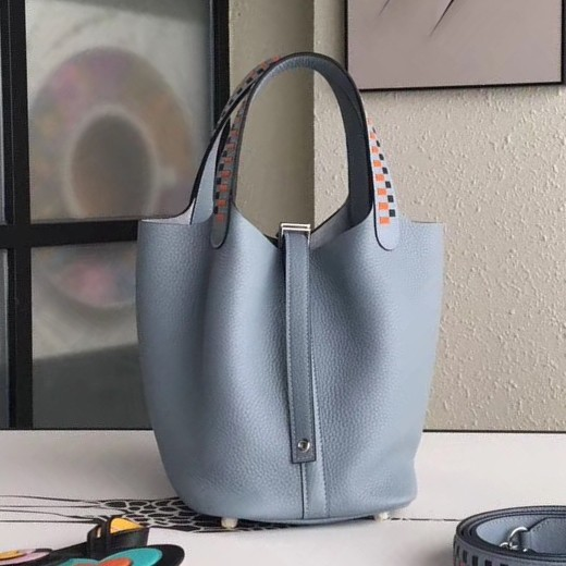 Top Quality Hermes Blue Lin Picotin Lock 18cm Bag With Braided Handles