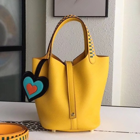 Wholesale Hermes Yellow Picotin Lock 18cm Bag With Braided Handles