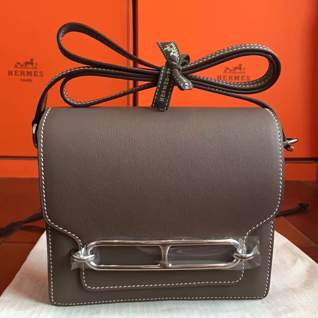 Top Quality Hermes Mini Sac Roulis Bag In Etoupe Swift Leather