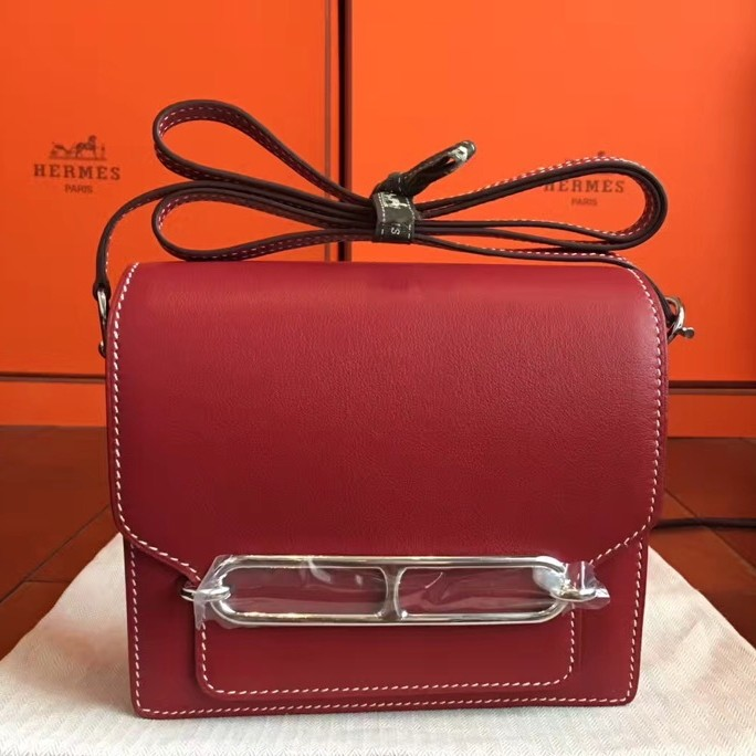 Luxury Hermes Mini Sac Roulis Bag In Red Swift Leather