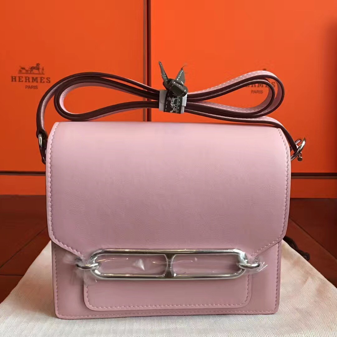 Hermes Mini Sac Roulis Bag In Rose Dragee Swift Leather Replica