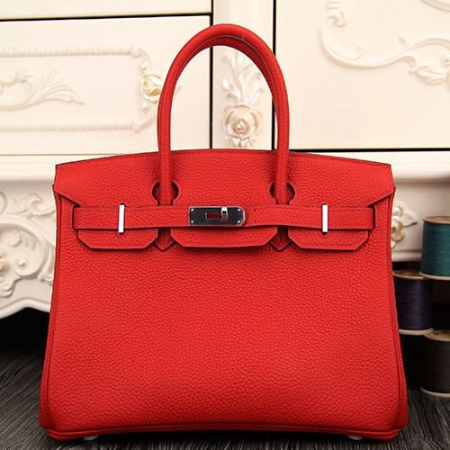 Fake Cheap Hermes Birkin 30cm 35cm Bag In Red Clemence Leather