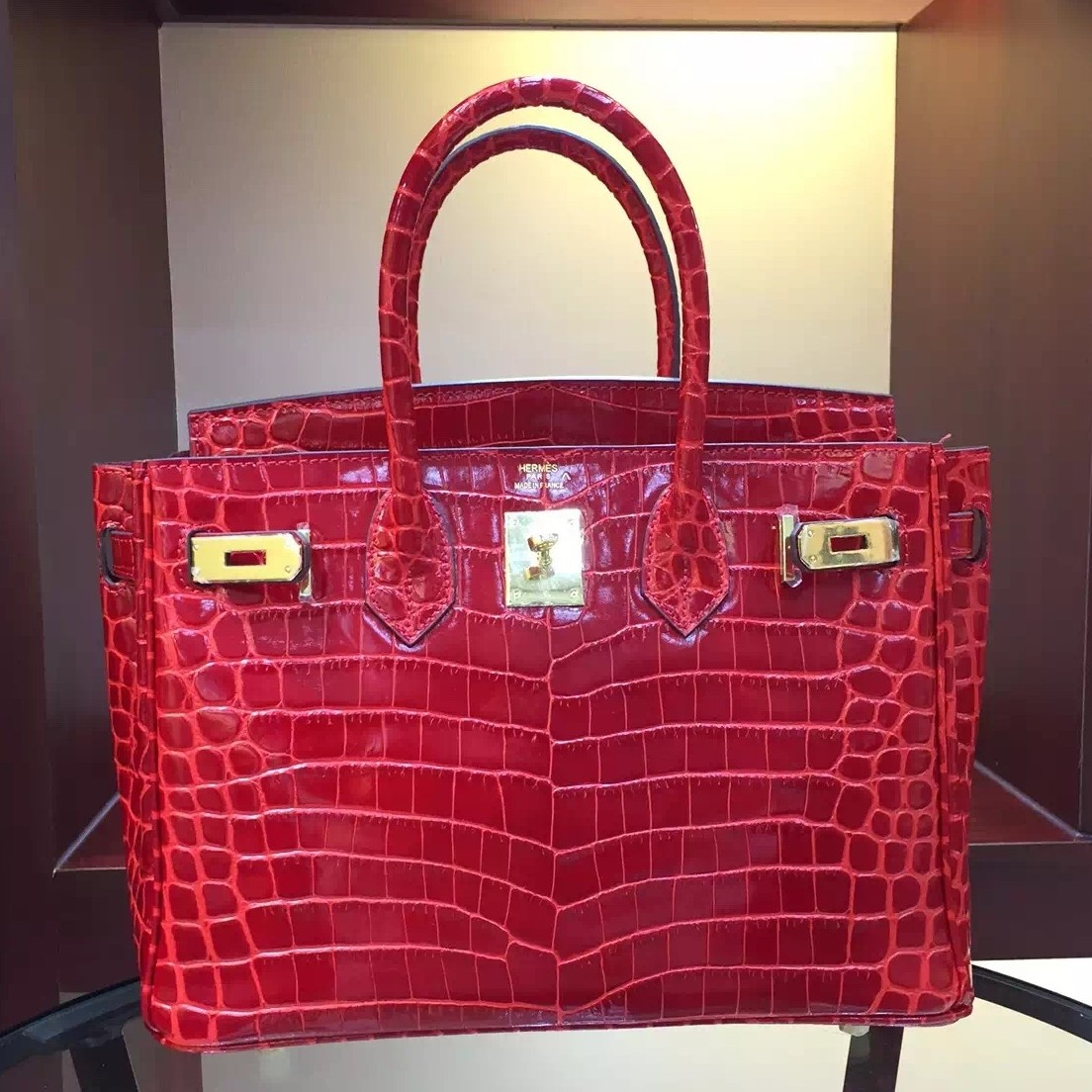 Hermes Birkin 30cm 35cm Bag In Red Crocodile Leather Replica