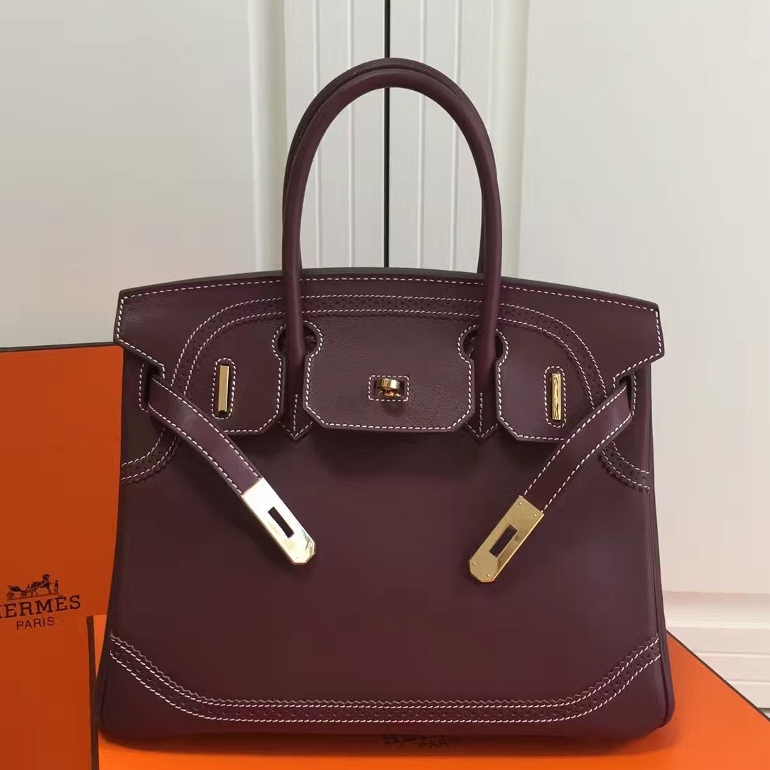 Imitation Hermes Birkin Ghillies 30cm In Burgundy Swift Leather