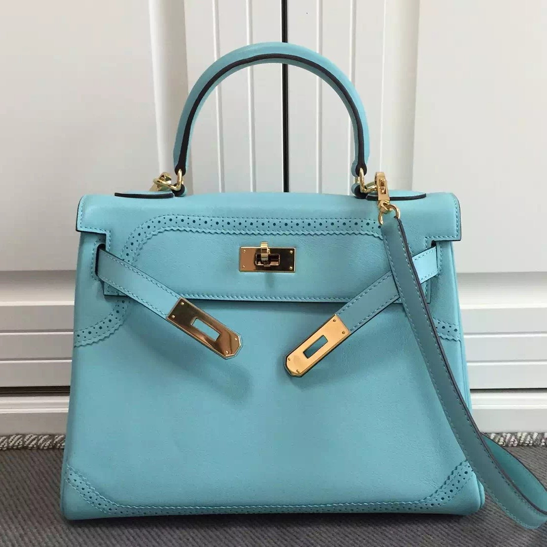 Replica Hermes Kelly Ghillies 28cm In Light Blue Swift Leather