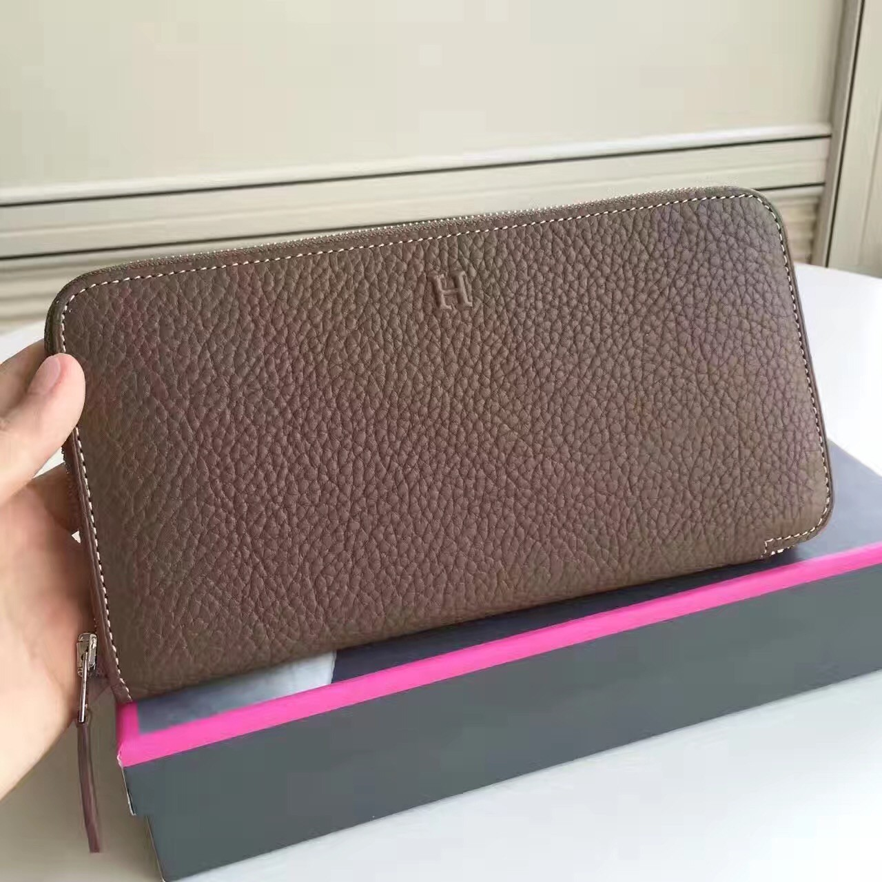 Knockoff Hermes Etoupe Clemence Azap Zipped Wallet
