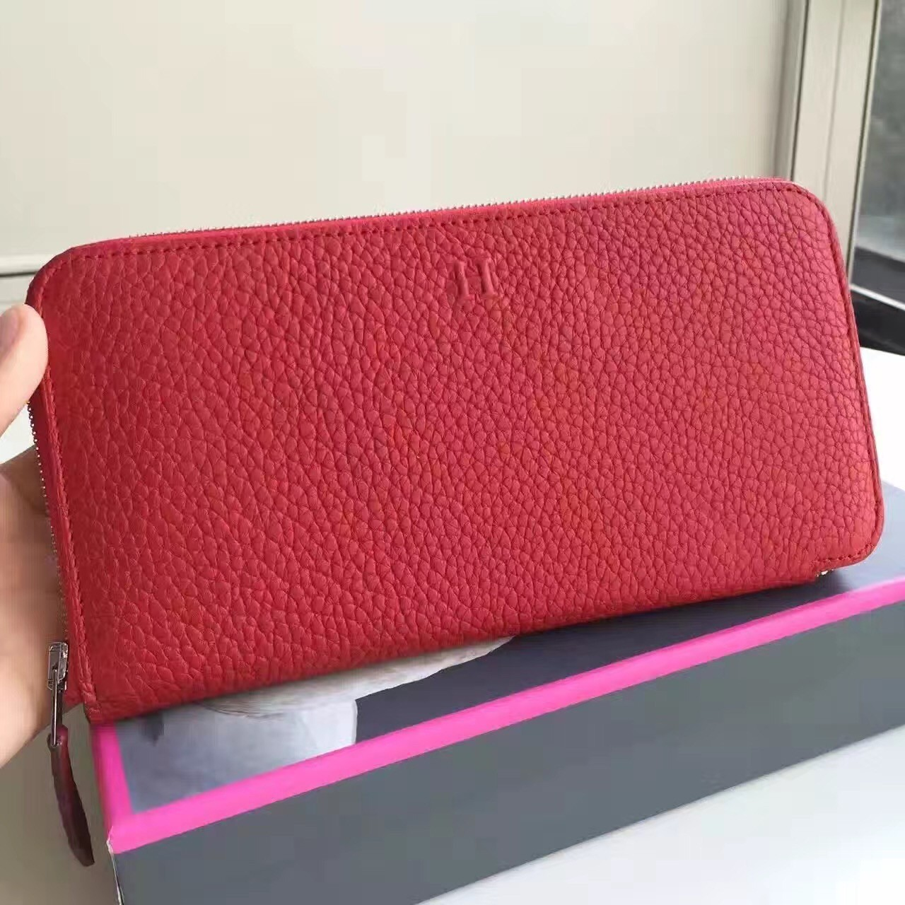 High End Hermes Red Clemence Azap Zipped Wallet