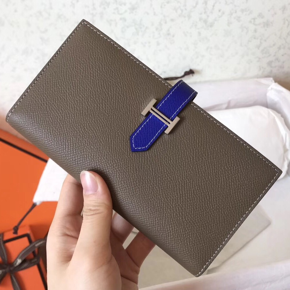 Perfect Hermes Bi-Color Epsom Bearn Wallet Taupe/Electric Blue