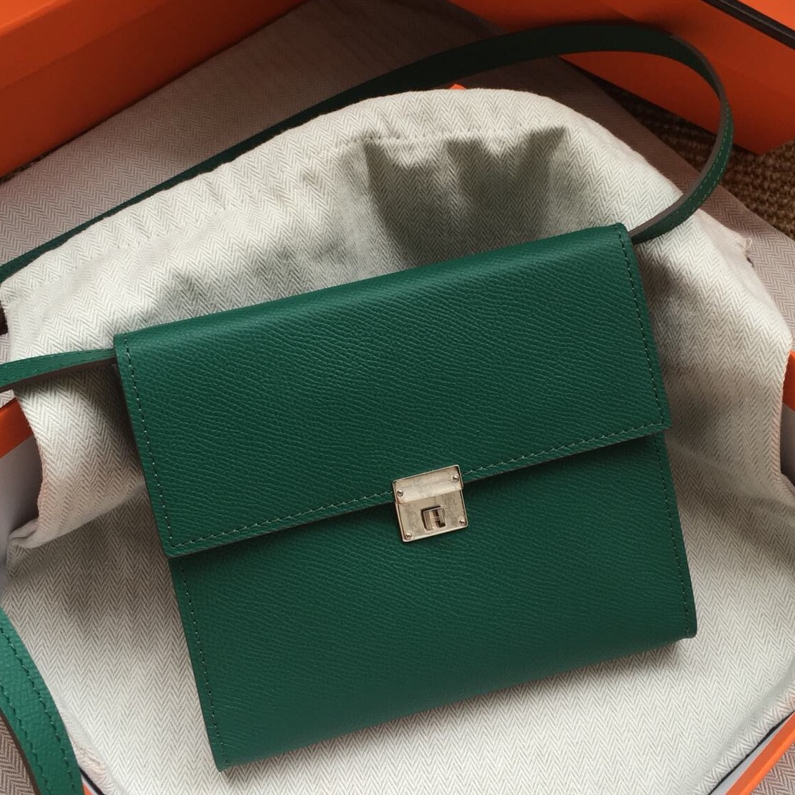 Copy Hermes Green Clic 16 Wallet With Strap