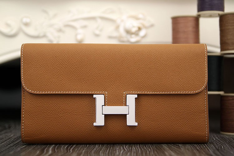 Hermes Constance Wallet In Brown Epsom Leather Replica