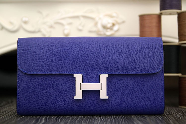 Hermes Constance Wallet In Electric Blue Epsom Leather