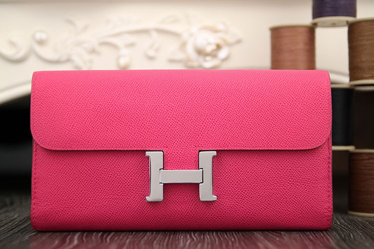 Hermes Constance Wallet In Peach Epsom Leather