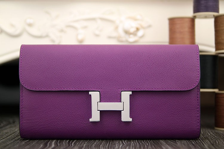 High End Hermes Constance Wallet In Purple Epsom Leather