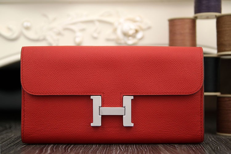1:1 Replica Hermes Constance Wallet In Red Epsom Leather