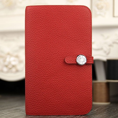1:1 Hermes Dogon Combine Wallet In Red Leather
