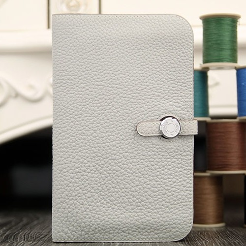 Faux Hermes Dogon Combine Wallet In White Leather