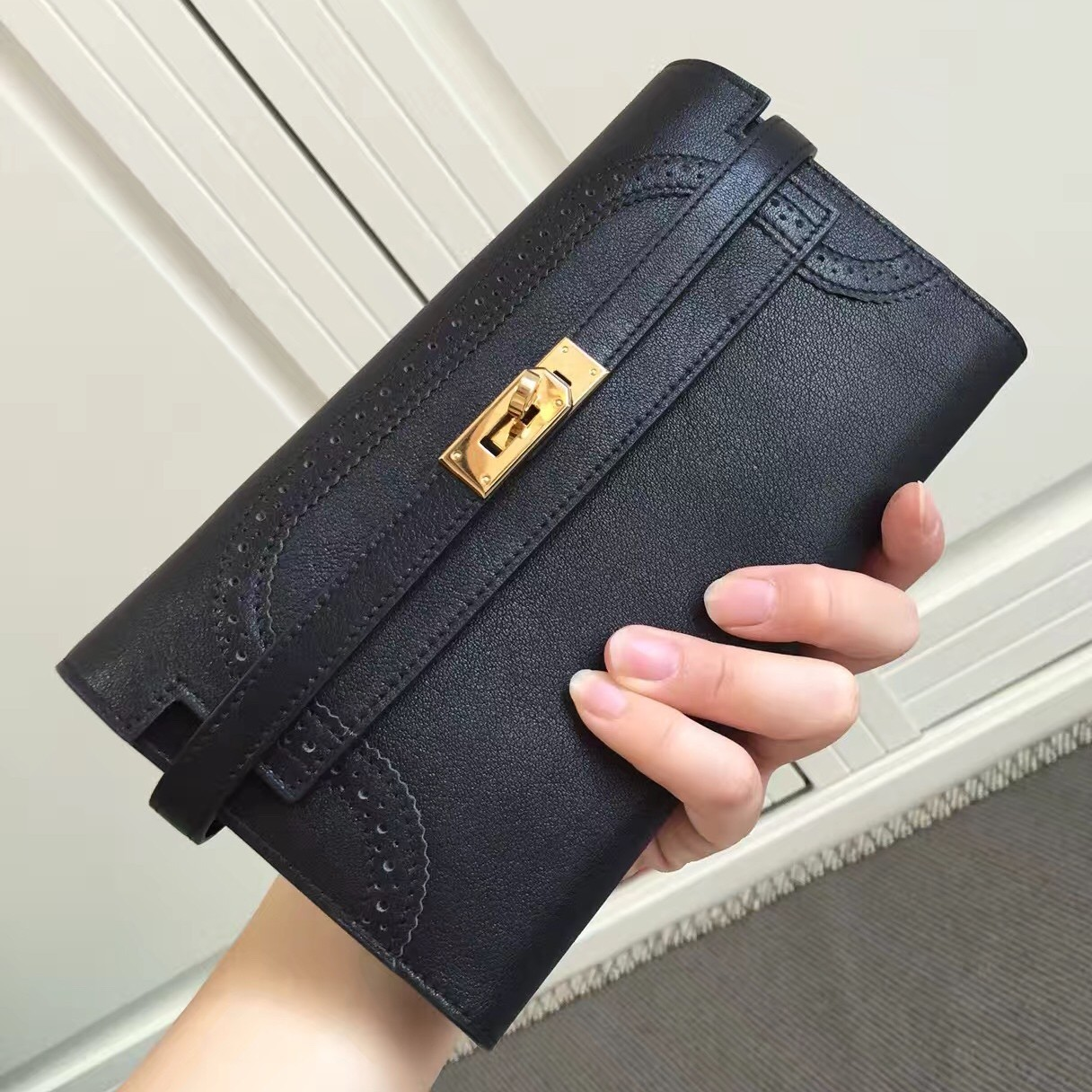 Discount Hermes Kelly Ghillies Wallet In Black Swift Leather